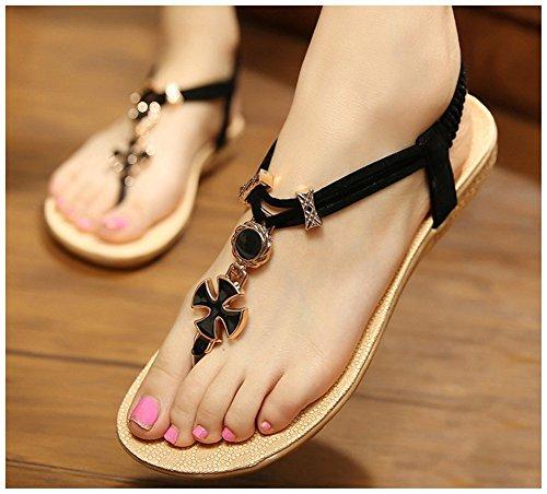Fortuning's JDS Bohemian chaussures de plage étudiants de mode de loisirs sandales plates Noir