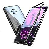 QINPIN Für Huawei Mate 20 Pro Magnetic Adsorption Aluminiumlegierung Stoßfänger-Glas-Kasten-Abdeckung Schwarz