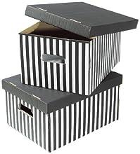 COMPACTOR Lot de 2 Boîtes de Rangement en Carton Ondulé, Avec Poignées, Empilables, Noir, 40 x 31 x H. 21 cm, RAN613