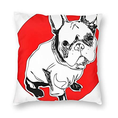 geckor French Buuldog One Line Design 451 Throw Pillow Cover Square Colorido...