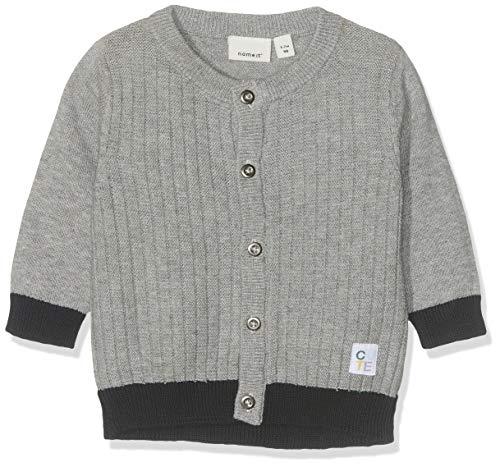 NAME IT Baby-Jungen NBMFASOM LS KNIT CARD Strickjacke, Grau (Grey Melange), (Herstellergröße: 74)