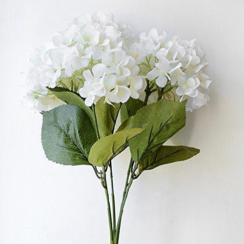 ZTTLOL Künstliche Blumen Hortensien Bouquet Für Hochzeit Dekoration 5 Köpfe Seide Blume Brautstrauß, Weiß
