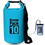 Dry Bag povumga wasserfest Tasche Outdoor Dry Sack Lagerung Taschen mit frei Handy Dry Tasche und verstellbarer Schultergurt für Boot und Kajak Rafting Schwimmen Camping und Snowboarden (10L)