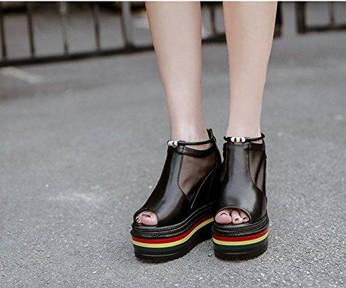 GTVERNH-black 8.5cm maggiore femminile sandali coi tacchi solo le scarpe.in estate la pendenza con bocca di pesce scarpe scarpe sono spesso fondo impermeabile,36 Thirty-nine