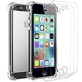 ivoler Custodia Cover per iPhone SE / 5S / 5 + 3 Pezzi Pellicola Vetro Temperato, Ultra Sottile Morbido TPU Trasparente Silicone Antiurto Protettiva Case per iPhone SE / 5S / 5