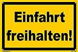 Kleberio® Warn Schild 30 x 20 cm Einfahrt - Einfahrt freihalten! - mit 4 Bohrlöchern (4mm) in den Ecken stabile Aluminiumverbundplatte