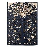 WISHMADE Einladungskarten Für Hochzeit Geburtstag Taufe Navy blau 3D Schmetterling Lasercut Design Spitze 50 Stücke inkl Umschläge und Aufkleber CW7085B