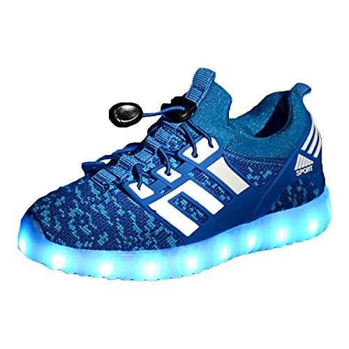 Yeeper LED Zapatillas de 7 Colores de Luces con USB de Carga Transpirables para los Niños y los Adolescentes 1832 Azul EU 34