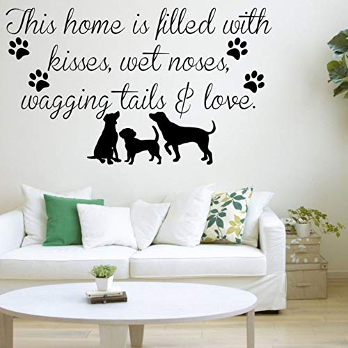 Dalxsh Dieses Haus Ist Gefüllt Hunde Welpen Haustiere Liebe Wandkunst Aufkleber Warm Und Romantisch Haus Vinyl Aufkleber 30X60 Cm (Gefüllte Welpen)