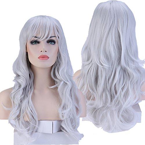 Perruque Femme Cheveux Synthétique Ondulé Longue 48cm Avec frange Pour La Vie Quotidienne Cosplay Déguisement Costume - GRIS ARGENTÉ
