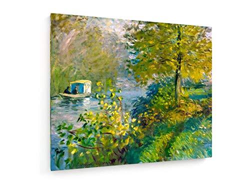 Claude Monet - Das Werkstattboot - 1876-60x50 cm - Textil-Leinwandbild auf Keilrahmen - Wand-Bild - Kunst, Gemälde, Foto, Bild auf Leinwand - Alte Meister/Museum -