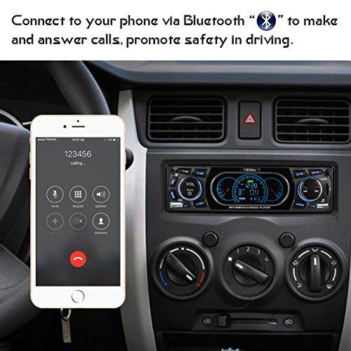 Favoto Radio FM de Coche Bluetooth Estéreo de Audio 60Wx4 Apoyo de Reproductor MP3 para Automóvil con Puerto Dual USB Micro SD AUX Llamadas Manos Libres con Control Remoto Negro 1 DIN