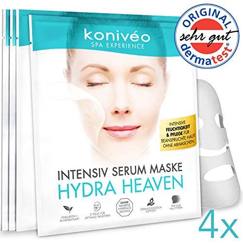 Tuchmaske Gesichtsmaske - Premium Hyaluron Gesicht Hydrogel Maske. Tuchmasken Vliesmaske Sheet Mask für Intensive Feuchtigkeit & Pflege. Ohne Parabene. Derma Test Note SEHR GUT / 4 er Monats ()