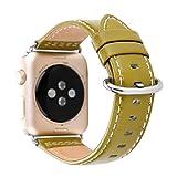 Amoyl für Apple Armbanduhr Lederband2 Hermes,  42mm/38mm Lederband für iWatch Zubehör Band (braun/schwarz/grün/khaki/blau), lichtgrün, 38 mm