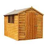 WALTONS EST. 1878 Wooden Garden Shed 8x6 Outdoor Storage, Overlap, Windows, Single Door, Apex Roof (8 x 6 / 8Ft x 6Ft)