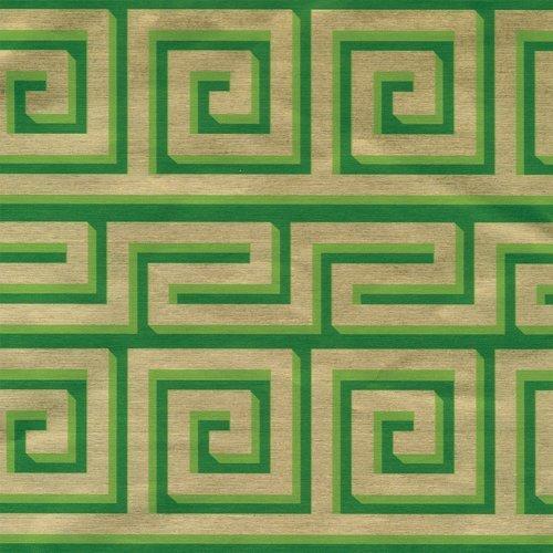 Caspari 8ft Griechisch Meander aufgerolltes Geschenkpapier von Folie–grün/gold