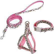 Pawz Road Leopard Pet Leash Collar Harness Set (pink, S)