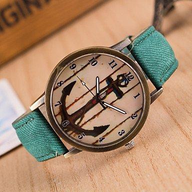 XKC-watches Herrenuhren, Frauen Neue Denim-europäische Art und Weise Retro- Anker beiläufige Armbanduhr (Farbe : Grün)