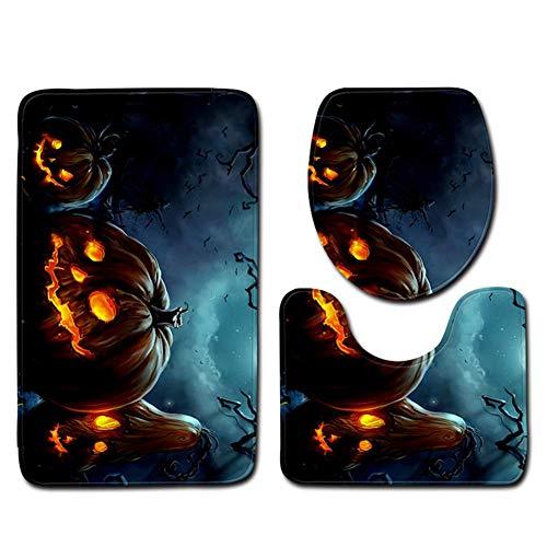 in Halloween Badezimmer Zubehör Sets 3 Stück Rutschfeste Sockel Teppich + Deckel Toilettendeckel + Badematte Teppich Badematten Bodenmatte,3,50 * 80Cm;50 * 40Cm;35 * 40Cm ()
