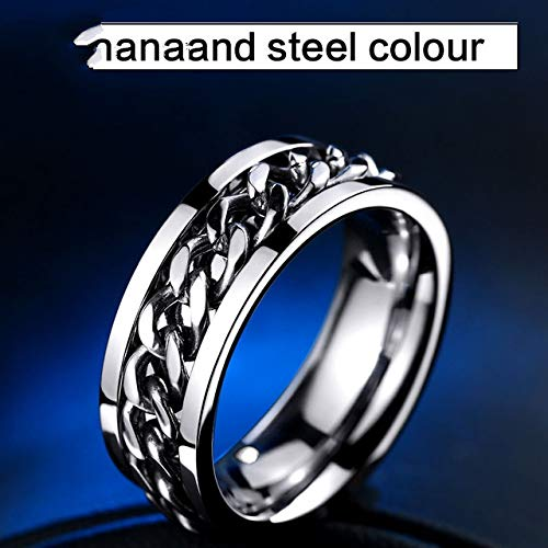 HuXwei 316L Stainless Steel New Part Plated-Gold/Black Man's Spin Chain Ring Cool Woman Fashion Wedding Multiple Colour Jewelry,All White,13 (Vintage Wedding Ring White Gold)