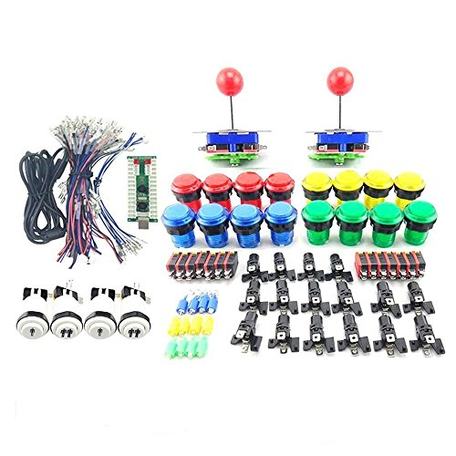 WINIT 2 Player LED Illuminated Arcade Button and Joystick DIY Parts Kit ,16x LED Push Button + 2x Joystick + 1x Zero Delay USB Encoder + 2 x Each of 1P and 2P Buttons for MAME, Raspberry Pi, Raspberry Pi 2, Raspberry Pi 3 RetroPie Projects