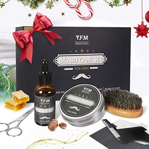 Hochwertiges Bartpflege Set von Y.F.M 30ml Bartöl + Bartbalsam 60ml + Bartkamm + Bartschere + Bartbürste bestes Geschenk für Männer, Ideale Wahl für Geburtstag, Erntedankfest, Weihnachten ()