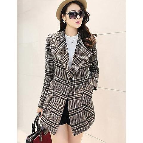 Da Wu Jia Ladies Cappotto donna andando fuori / Casual/Daily semplice / carino / Street cappotto chic, solido girocollo manica lunga Autunno / Inverno grigia spessa Lana , m