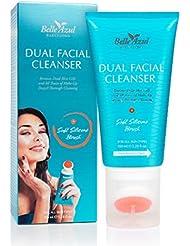 Belle Azul 2-in-1 Gesichtsreiniger - Porenverfeinernd und pflegend zugleich. Reinigungsgel und integrierter Silikonbürste. Für alle Hauttypen geeignet ✔ Nicht an Tieren getestet ✔ Vegan ✔ 100 ml