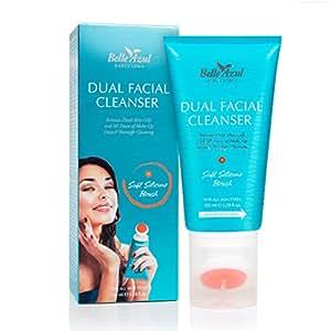 Belle Azul Dual Facial Cleanser - Gel detergente viso esfoliante e purificante, con spazzola in silicone, per rimuovere impurità, cellule morte della pelle ed ogni traccia di Make-up. Grazie all' olio di Argan ed alle sue cellule staminali, regala un aspetto più giovane e luminoso. Adatto a tutti i tipi di pelle.150ml