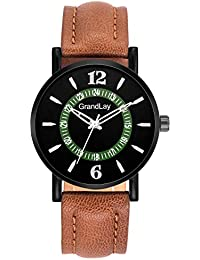 Grandlay mg-3086 black dial with brown strap stylish watch for menz