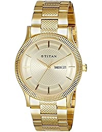 Titan Analog Champagne Dial Stainless Steel Strap Men's Watch - 1650YM06