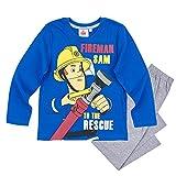 Feuerwehrmann Sam - Kinder Jungen Pyjama Schlafanzug Gr. 98 - 128, Größe:104;Farbe:Blau