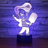 3D Veilleuse Karaoké Chant 3D lampe 7 Changement de couleur 3D LED Lumière...