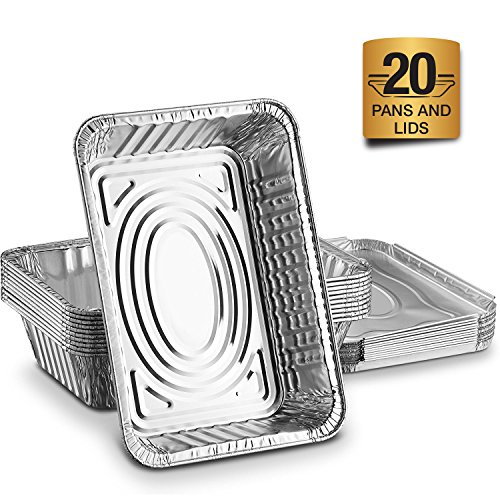Disposable Aluminum Foil Trays Containers With Foil Lids 1000ml. Great For Baking Food Storage Takeaway Tin & More Pack Of 20