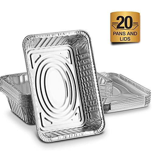 Aluschalen mit Deckel Alu Auflaufform: 20er Lunchbox Set zum Aufbewahren von Essen oder als Backform Aluminiumbehälter mit Einlegedeckel - Einweg Grillschale 21 x 15 cm mit 1000 ml für Lasagne uvm (Oberen Deckel)