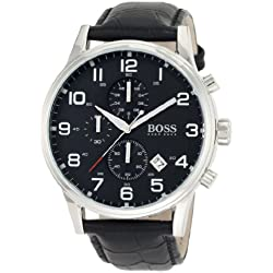 Hugo Boss Men's 44mm Black Leather Band Steel Case Quartz Analog Watch 1512448