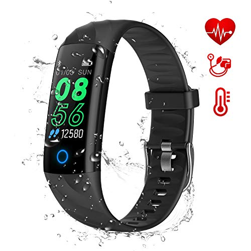 AK1980 Fitness Tracker Uhr,Aktivitätstracker Uhr mit Pulsuhren IP68 Wasserdicht Smart Watch Schrittzähler Kalorienzähler Sportuhr Stoppuhr für Kinder,Frauen & Männer Fitness Armband (Black)