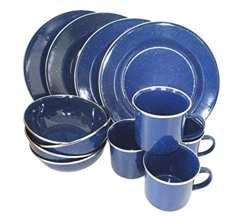 High quality 12-piece enamel cooking set for 4 persons Western Dinnerware Set Camping Cooking Set Blue Enamel