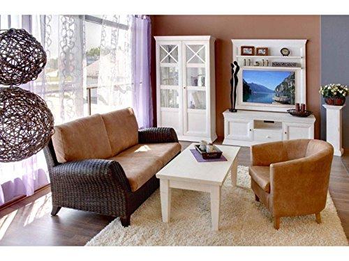 Couchtisch Quadro 120 x 60 cm H 50 cm Pinie massiv Farbe Pinie weiß gekälkt