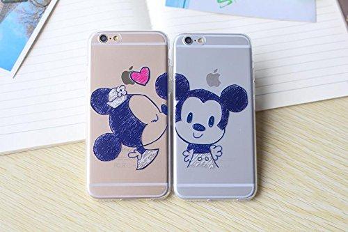 Coque Flexible dessin Animé Mickey & Minnie Kiss pour iPhone 5/5s/SE - Pack Garçon + Fille