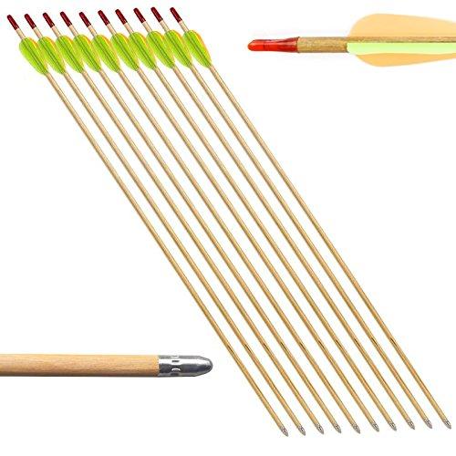 10 Frecce Freccia per Arco Tiro Bersaglio Legno Archi 20 60 Libbre 27.5 Pollici - 20 Frecce