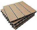 36piastrelle a incastro per pavimenti, in legno composito-teak a scatto per patio, giardino, balcone, vasca idromassaggio, con pannelli quadrati da 30 cm