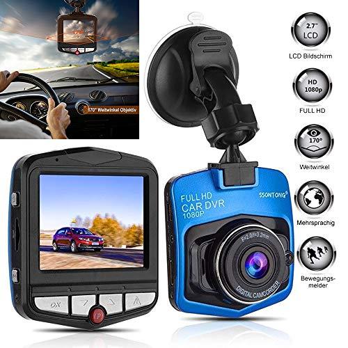 KawKaw Full-HD Dashcam 1080P mit 6 Megapixel Kamera, 170° Weitwinkelobjektiv und Infrarot-Aufnahmen - Integrierte Bewegungserkennung, Parkmonitor, Loop-Aufnahmen und Nachtsicht (Blau)