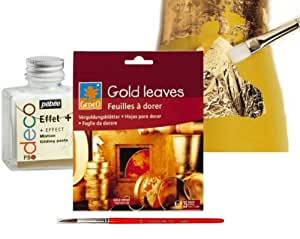 Pebeo / Gedeo Gold Leaf Kit - 25 leaves Gold Coloured Gilding Foil + Fine Gilding Brush + Fixing Paste 75ml + Pasting Brush