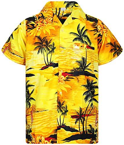 V.H.O. Funky Hawaiihemd, Kurzarm, Surf, gelb, XXL - Gelbe Hawaii-shirt