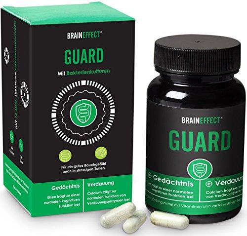 BRAINEFFECT GUARD | 12 Mrd. ausgewählten Pro-Bakterien-Kulturen | 60 Kapseln | Gesunde Darmflora & Verdauung mit Calcium | Schutzschild für dein zweites Gehirn | Eisen, Calcium &