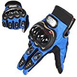 GES Men Outdoor Motorcycle Guanti impermeabili Moto Full Finger Touch Screen Racing Moto Cross Country Gloves (M, Blu)