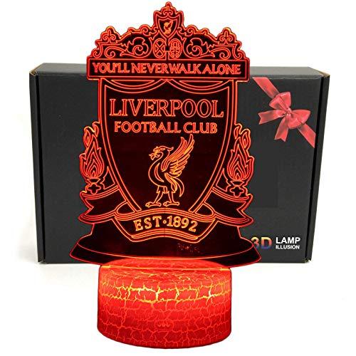 LED Premier League Football Team Club 3D Optische Illusion Smart Nachtlicht Tischlampe mit USB-Stromkabel in 7 Farben Liverpool