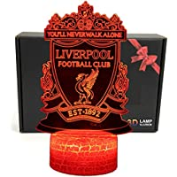 LED Premier League Team 3D Optical Illusion Smart 7 Colors Night Light Table Lamp with USB Power Cable (Liverpool)