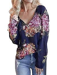URSING Damen Oberteile Beiläufig V-Ausschnitt Langarm Blumen Drucken T-Shirt  Vintage Hemd Casual Bluse Elegant… a6cecdb623
